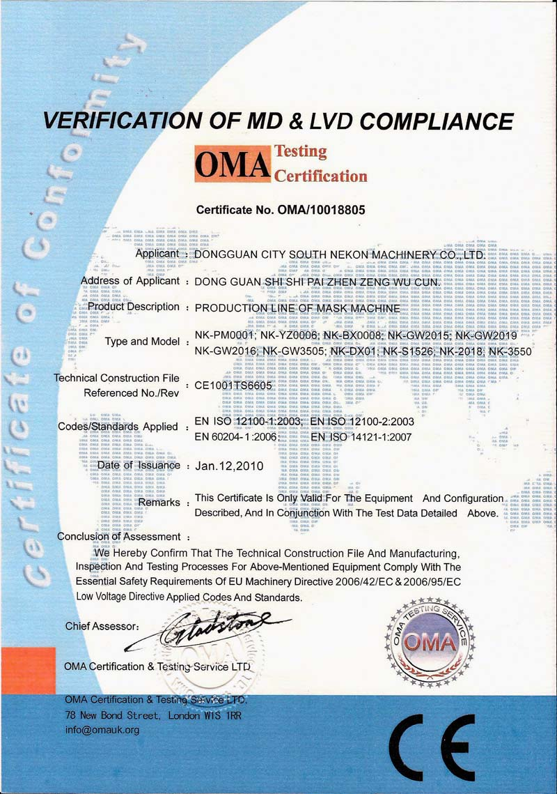 VERIFICATION OF MD&LVD COMPLIANCE